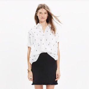 Madewell Black Hideaway Fringe Mini Skirt